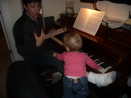 Nathan giving a voice lesson to his youngest pupil